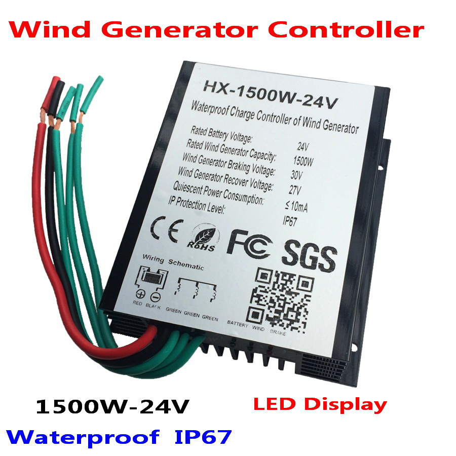 1500W 24V 48V Wind Generator Charge Controller with LED display,Wind Turbine Charge Controller, IP67 waterproof