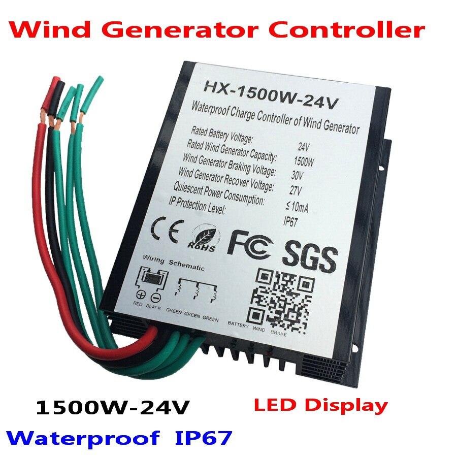 Contrôleur de Charge de générateur de vent de 1500 W 24 V 48 V avec l'affichage de LED, contrôleur de Charge d'éolienne, IP67 imperméable