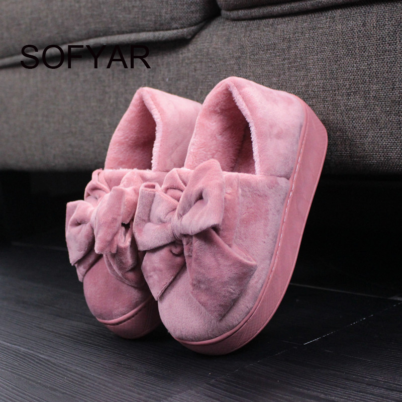 High cotton slippers female warm winter girl with thick bottom cotton mop bowknot warm fluffy cute cotton shoes women at home