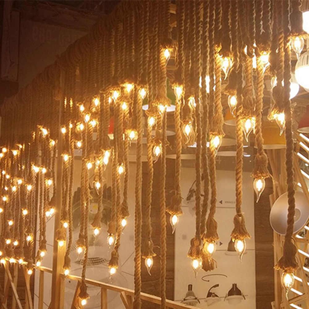 E27 Industri Lampu Ganda Kepala Vintage Edison Tali Rumah Restoran Bertema Dekorasi Pesta Tali Rami