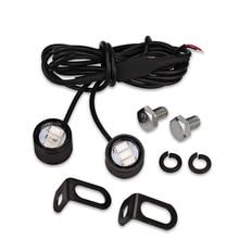 2pcs Motorcycle Led Strobe Lights Motor Strobe Flash Warning Brake Light Lamp 12V Spotlight Fish Eye Lens Lamp Yellow Blue White