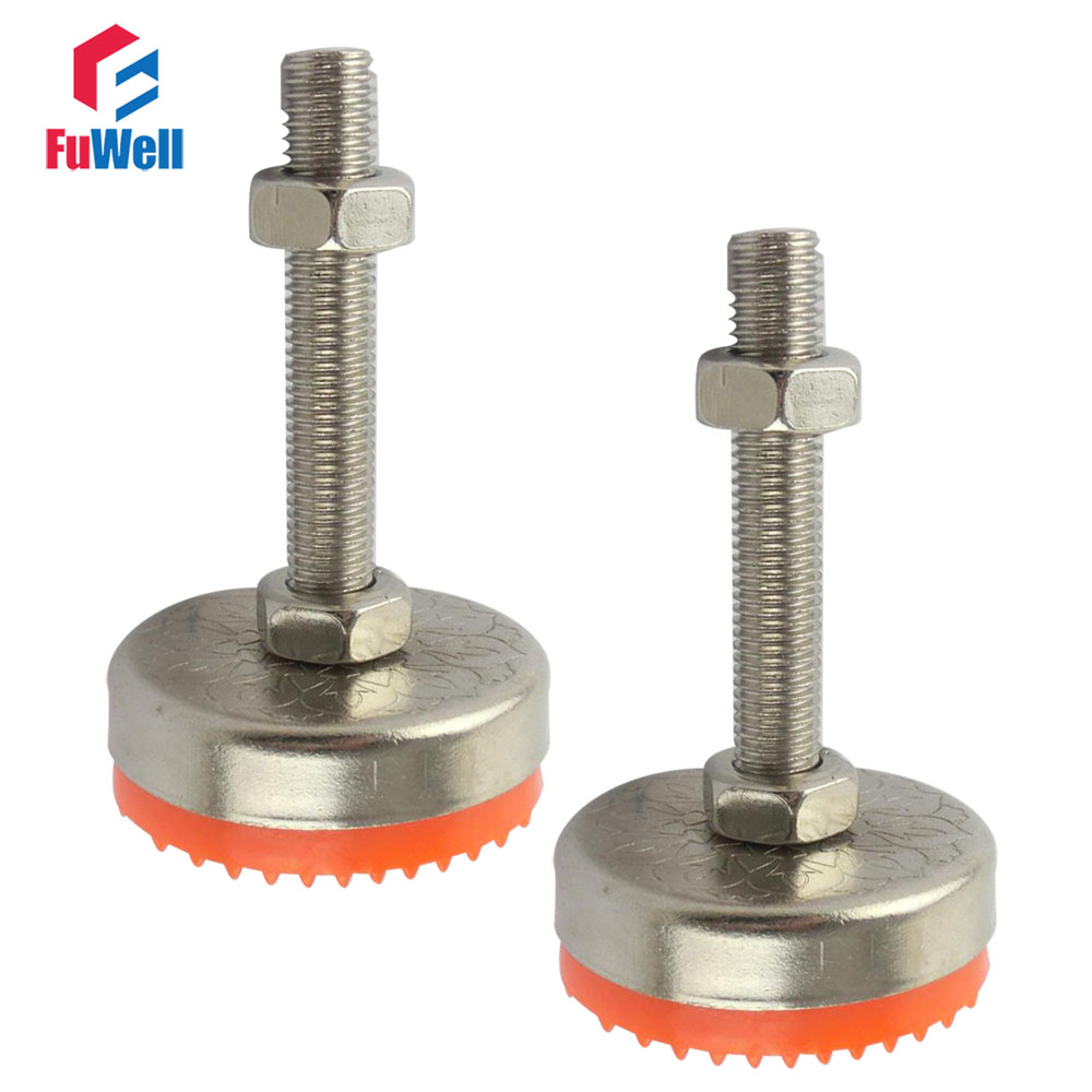 2pcs M12/M14/M16/M18/M20 Thread Adjustable Foot Cups 80mm Diameter TPU Non-skid Base 100/120/150mm Articulated Leveling Foot m