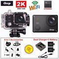 Frete grátis! gitup git2 pro 1080 p wifi 2 k câmera de ação esporte helemet dv ao ar livre + carregador duplo + 2 bateria + acessórios 8in1