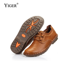 YIGER New Men Casual business shoes male lace-up genuine leather mens Breathable leisure non-slip handmade  0306