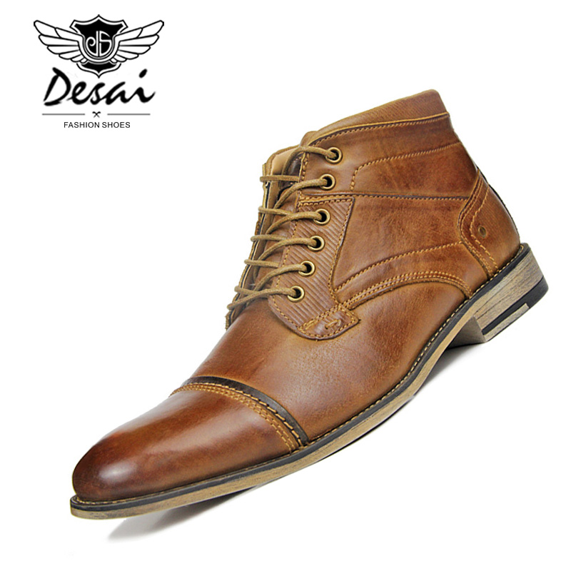 남자의 새로운 높은 부츠 정품 가죽 부츠 플러스 벨벳 비즈니스 캐주얼 높은 신발 남자 레이스 업 대형 옥스포드 신발 브라운-에서작업 & 안전 부츠부터 신발 의  그룹 1