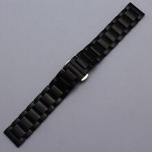 De alta calidad 18mm 20mm 22mm 24mm Correa de acero Inoxidable Negro unplished relojes correa hebilla desplegable nuevas Pulseras venda de reloj