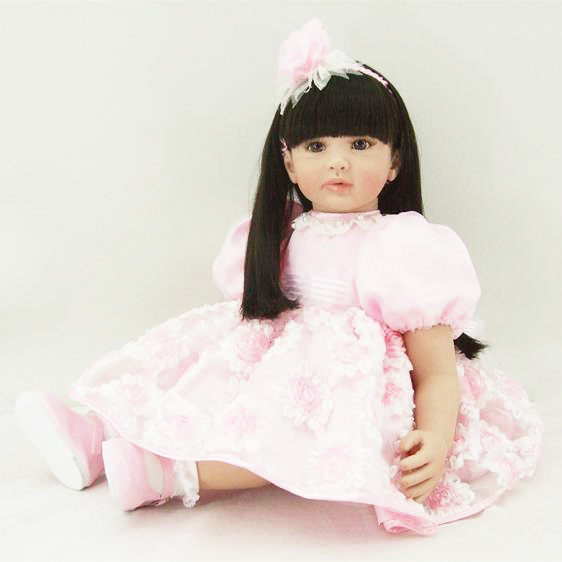 Pursue 24/60 cm New Beautiful Pink Silicone Reborn Toddler Princess Girl Baby Doll Toys for Children Girl Educational Doll Toys original winx club bloom musa beautiful girl magiche fan doll collection toys