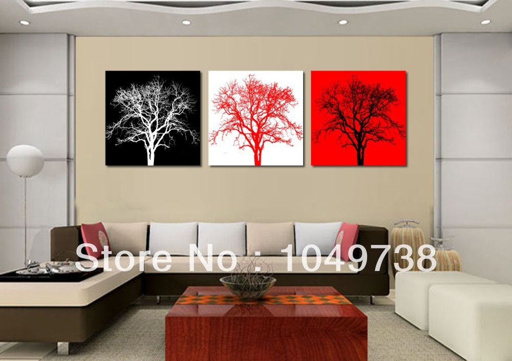 Merveilleux Free Shipping 3 Piece Art Sets Black And Red Wall Decor Black And White Art  Tree Picture Painting Online Abstract Paintings Tree In Painting U0026  Calligraphy ...