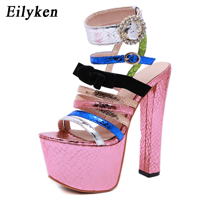Eilyken Summer Sexy Platform Women Sandals Gladiator Ankle Buckle Strap Ultra Very High heel 17CM Rainbow color Club shoes