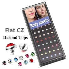 40piece/box  Flat CZ Crystal Dermal Anchor Tops with 16g Thread Skin Piercing Jewelry mixed colors