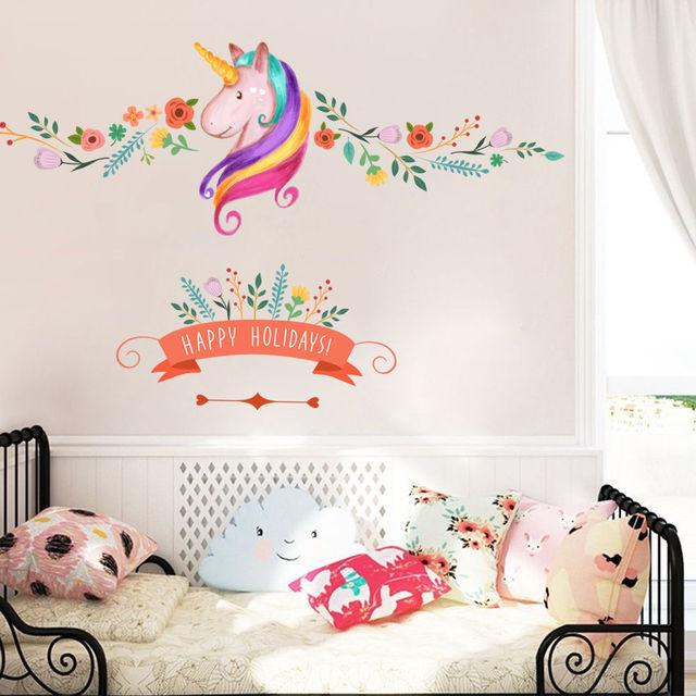 Fiore cavallo felice festa adesivi murali bambini camera dei ...