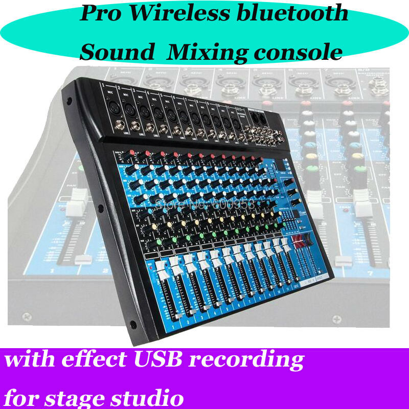 Professional 12 Channel Bluetooth Mixer USB Digital effects 16 DSP Microphone Sound Mixer Console For Stage Music Concert School xbox music mixer