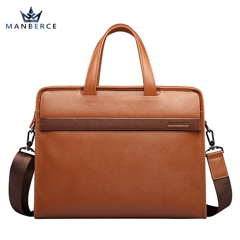 Luxury Cowhide men's business briefcase / Genuine leather man vintage cross-body one shoulder handbag / Luxury leather bag luxury genuine leather shoulder