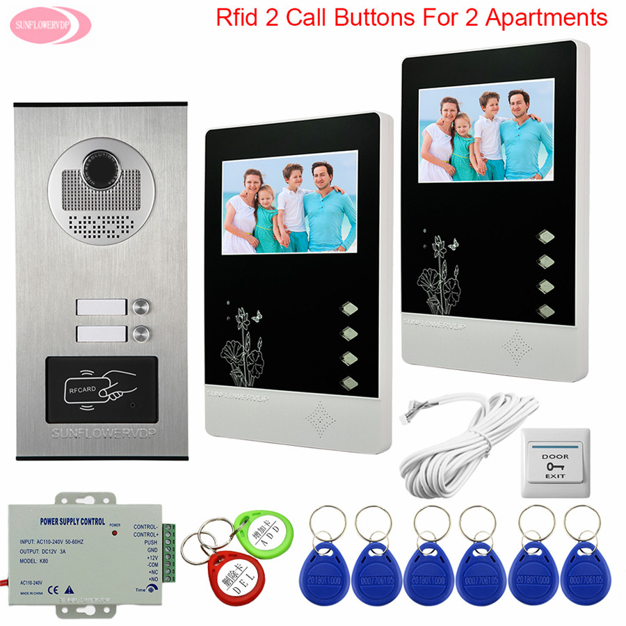 Video Door Phone Intercom System Video Intercom 2 Apartments Access Control 4.3 Inchs Color Video Intercom With Lock Bell System