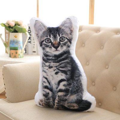 3D dimensionnel oreiller simulation chat en peluche grand 55x35 cm doux oreiller, canapé coussin 0165