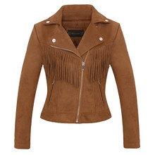 Women high quality suede leather jacket spring fall new casual fashion ladies tassel coat biker jacket pink brown faux leather