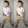 Мода Дети Мальчики Одежда Установить Белую Рубашку + Короткий Брюки 2 шт. летние Мальчиков Младенца Установленные Одежды 2-6 Детей Костюм Набор для мальчиков
