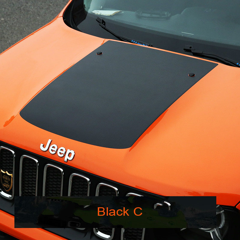 KOUVI1pc Black carbon fiber Car Accessories stickers Auto front body hood Enginne cover sticker for 2015 2016 2017 JEEP Renegade