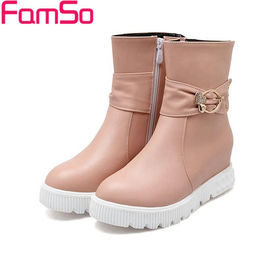 Plus Size34 43 2016 new Arrival font b Women b font Boots Designer Wedges Shoes buckle