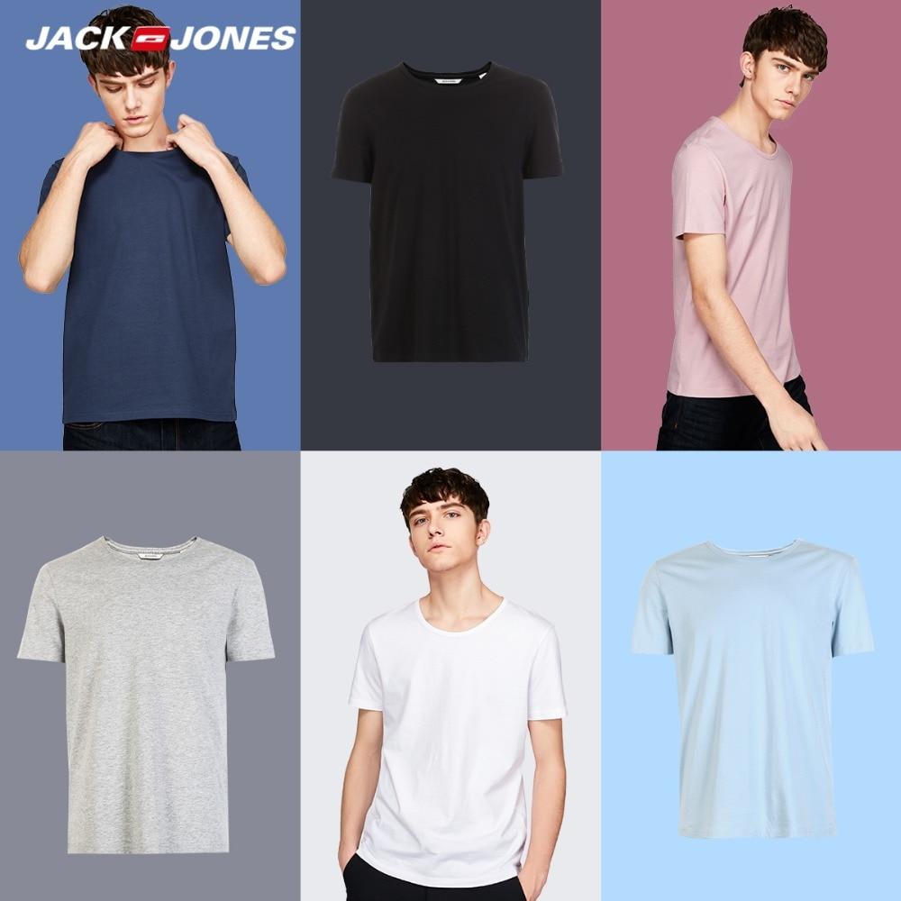 JackJones 2018 nueva marca de algodón de los hombres T camisa de colores sólidos camiseta Top de moda camiseta hombres camiseta más colores 3XL 2181t4517