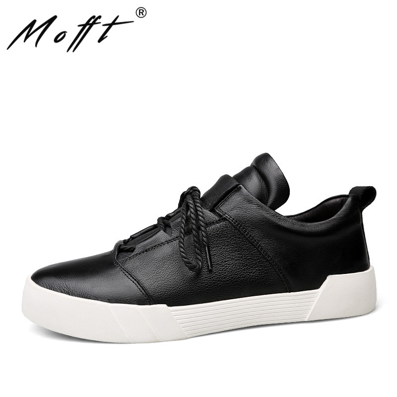 MOFFT 37 48 Large Size Leather Shoes New Lace Up Men Causal Shoes Soft Leather Male