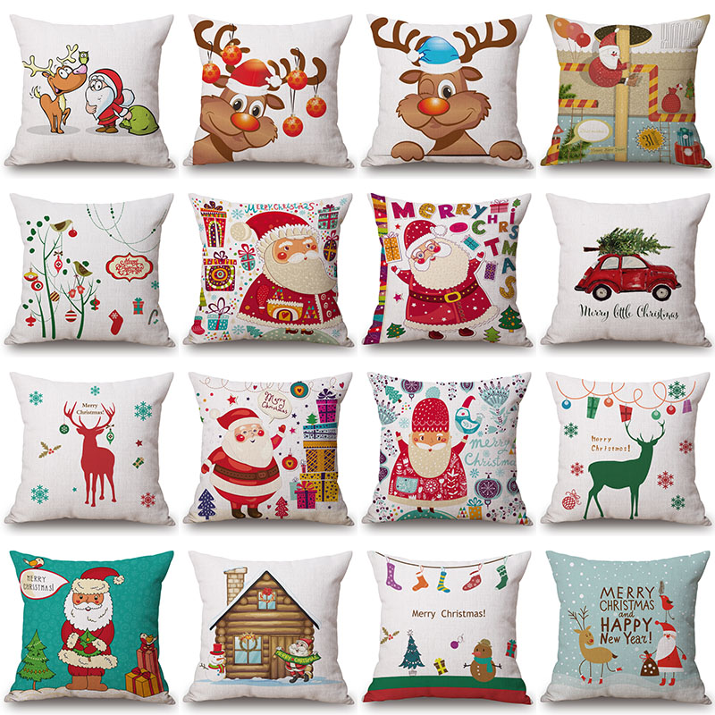 Father Christmas Deer Printed Cotton Linen Pillowcase Decorative Cushion Pillows Use For Home Sofa Car Office Almofadas Cojines