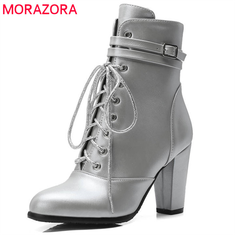 MORAZORA 2018 large size 33-44 pointed toe ankle boots zipper +lace up fashion sexy high heels women boots autumn winter shoesMORAZORA 2018 large size 33-44 pointed toe ankle boots zipper +lace up fashion sexy high heels women boots autumn winter shoes