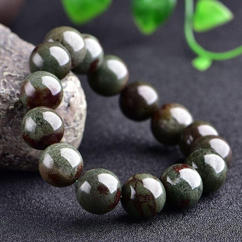 цена на Natural Green Ghost Cornucopia Bracelet Green Full Basin Beads Crystal For Women Enhance Charms Jewelry Couple Bracelets 14mm