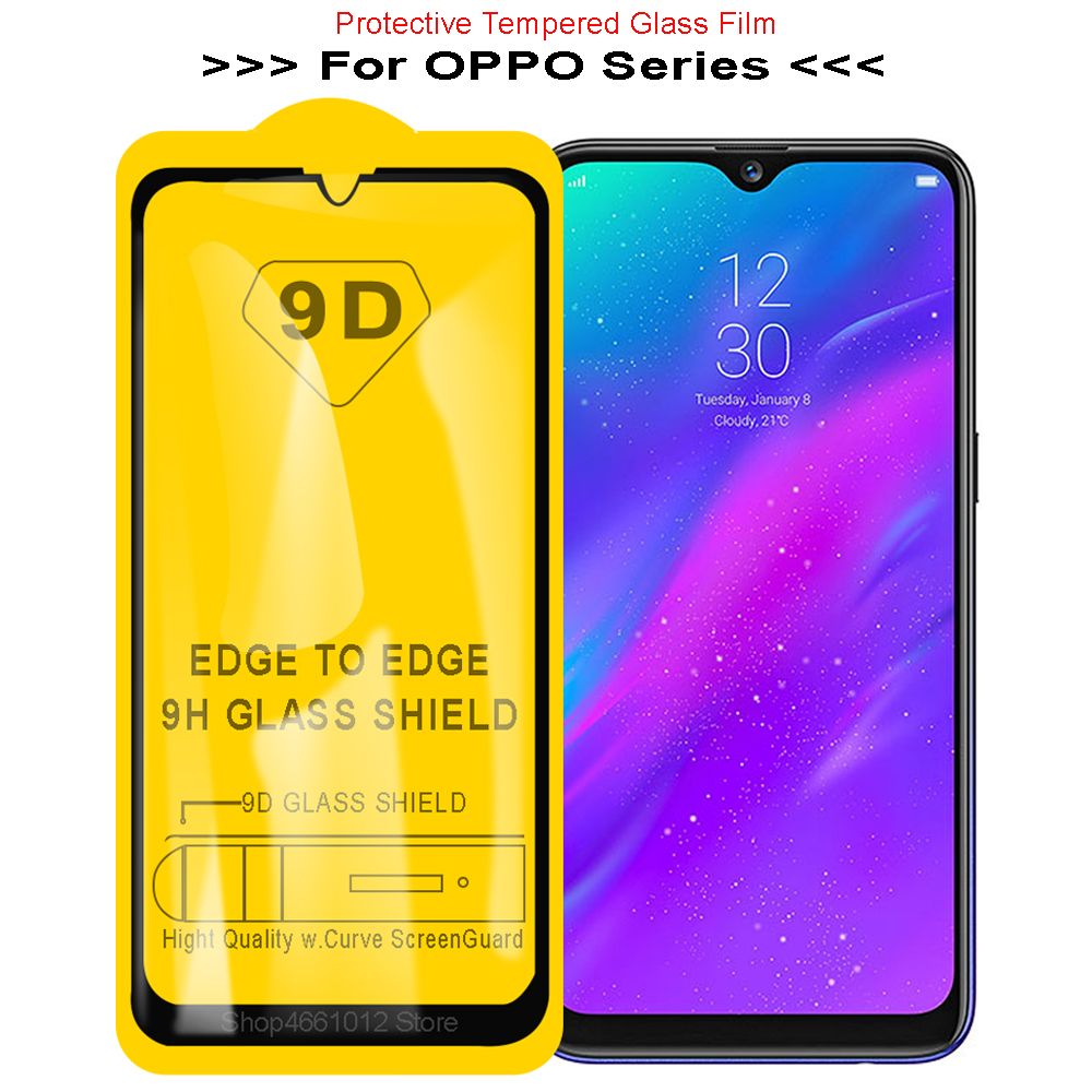 Safety Protective Film for OPPO A3s F11 F9 Pro <font><b>F5</b></font> Youth Tempered Glass Cover for Realme 3 1 2 Pro 9D Full Glue Screen Protector image
