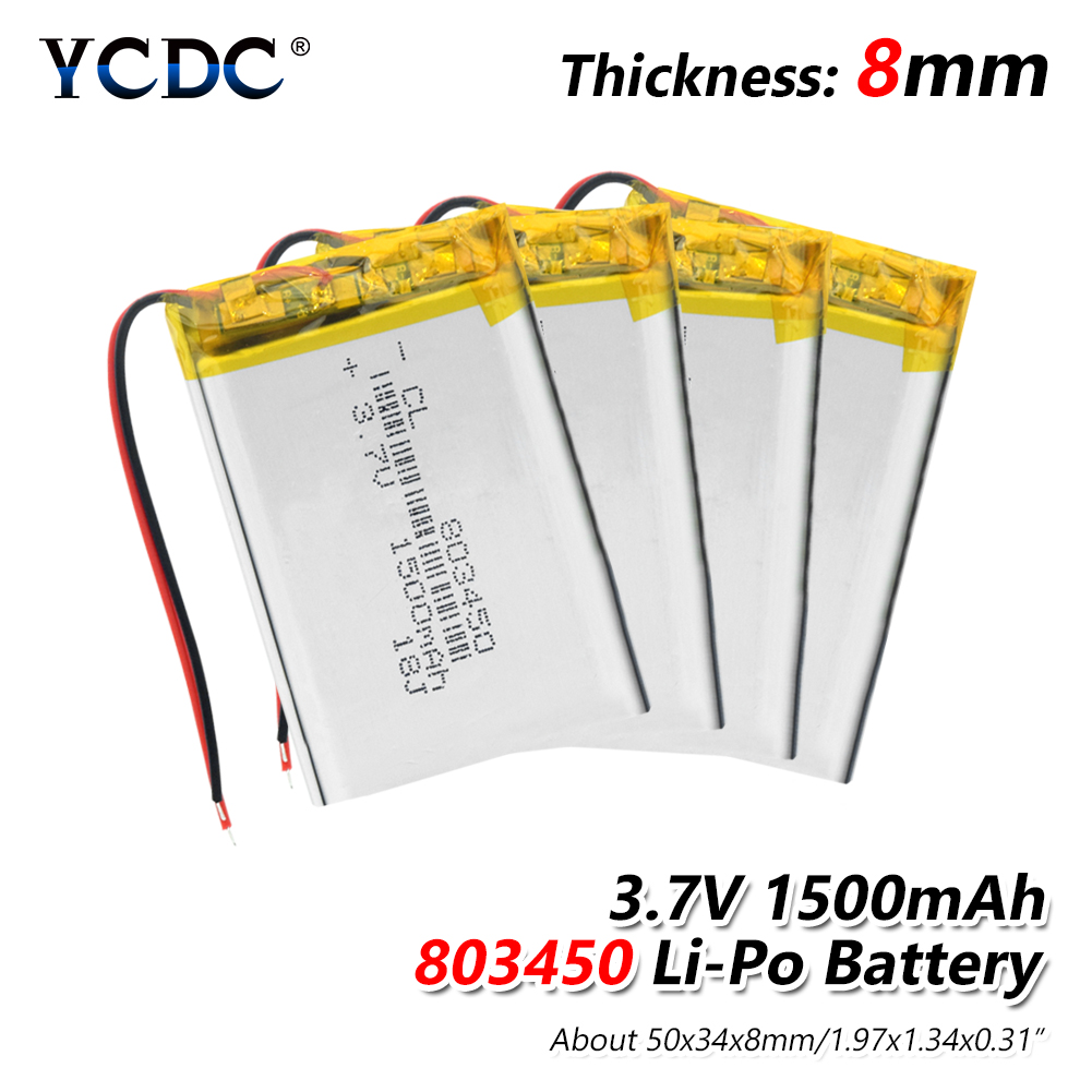 1/2/4 Pieces New High Capacity 1500mAh Lithium Ion Polymer Battery 3.7V 803450 Li-polymer Lipo Batteries With PCB Protection