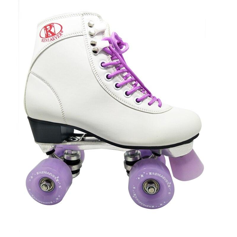 Women's Classic Retro 4 Wheel Quad Roller Skates White Boot And Violet