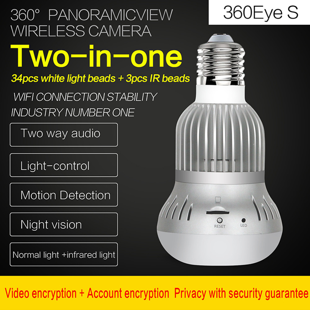 Bulb Lamp Wireless IP Camera 1080P White Led With IR Night Vision FishEye 360 Degree Panoramic Wifi Camera Home Security купить в Москве 2019