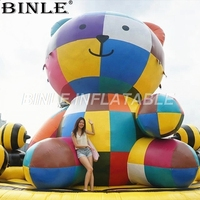 Free air shipping giant rainbow color inflatable teddy bear inflatable cartoon mascot for outdoor advertising