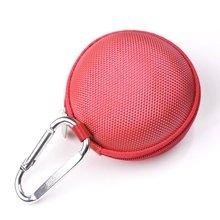 3 em 1 Caso Duro EVA Plus Rodada Organizador do Fone de ouvido Handsfree do Fone De Ouvido Vermelho e Prata Mosquetão Com