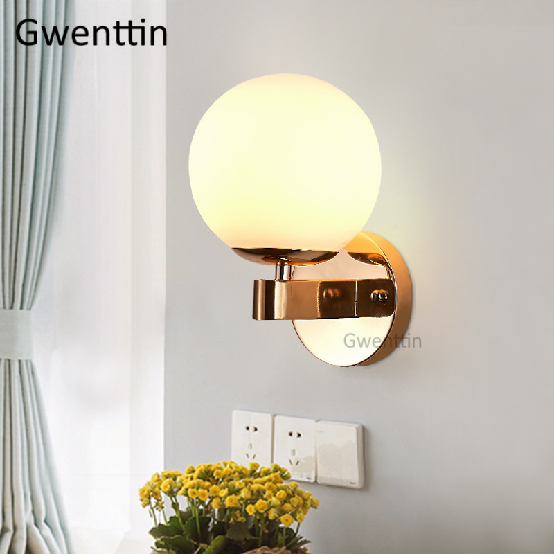 Modern Glass Ball Wall Lamp Led Mirror Light Fixtures Gold Wall Sconce for Bedroom Bathroom Home Loft Industrial Decor Luminaire