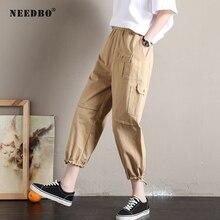 NEEDBO Women Pants 2019 Cargo Casual Khaki Black Spring Vintage Trousers Plus Size Moto Joggers