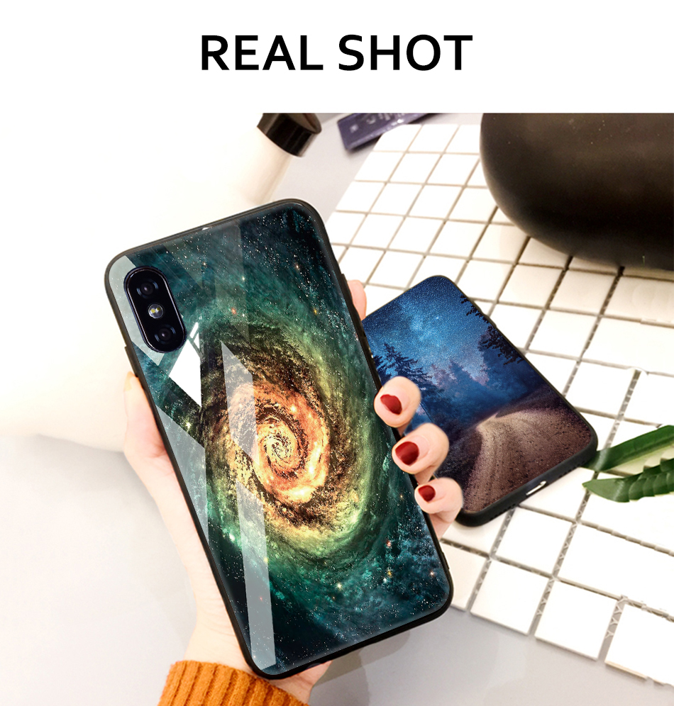 TOMKAS Tempered Glass Case For iPhone XS Max XR XS Silicone Stars Space Cover Phone Case For iPhone X 10 XS XR Luxury Cases TPU  (16)