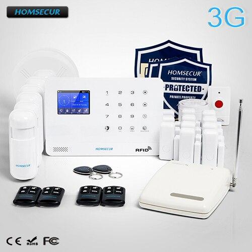 HOMSECUR Wireless LCD 3G/WCDMA RFID Burglar Intruder Alarm System with Smoke Detector LA02-3G