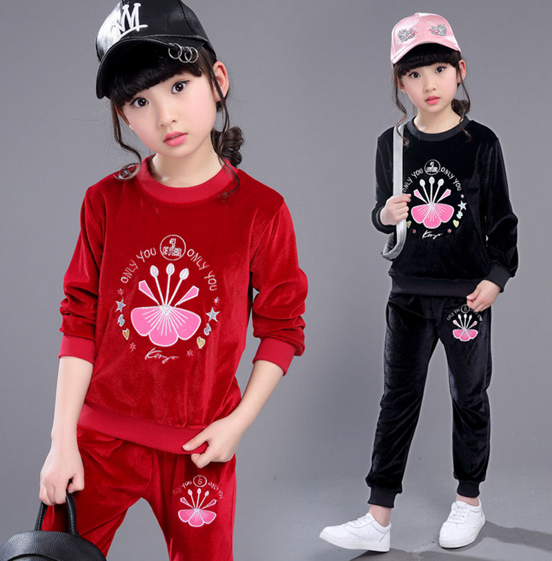2017 New Girls Sports Suit Fashion Autumn Clothing Set Pleuche Long Sleeve Sports Outfit for Girls Children 4~12 Years Old