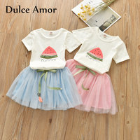 Dulce Amor Girls Clothes Set 2018 Summer Baby Girl Clothing Fashion 2PCS Suit Kitten Watermelon Print