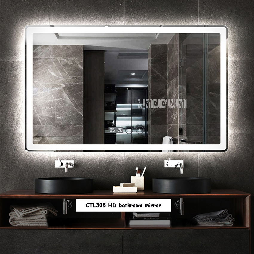 new ctl305 wall mounted led bathroom mirror modern intelligent hd frameless bathroom mirror anti fog mirror 110v 220v 4 8w m 5mm rh aliexpress com