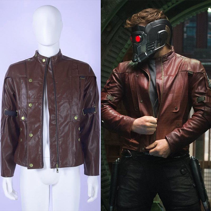 Guardians of the Galaxy Peter Quill StarLord Cosplay Costume Men's Fashion Red Coat Faux Leather Jacket Halloween Party Uniform