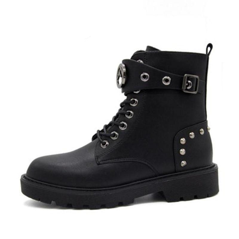 Remaches Botas Mujer Tamaño 40 Metal Zapatos Invierno Mujeres Nightcherry Hebilla Pisos Caliente Señoras Simple Negro Cortas Nuevos De 35 Moda WtaqSxYw