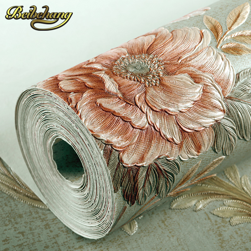 купить beibehang European Luxury papel de parede 3D Wall paper roll Embossed Flocking Living room TV Background wallpaper for walls 3 d по цене 2625.38 рублей