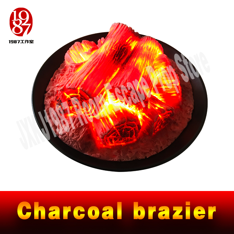 escape game prop Round Electric fireplace simulation Charcoal brazier fake firewood bar KTV decoration craft Christmas