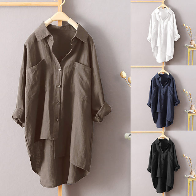 Explosions new women's casual style solid color   shirt   autumn cotton and linen cardigan double pocket long sleeve   blouse