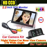 5 Inch TFT LCD Screen HD Panel Color Car Rear View Camera With Monitor 7 IR