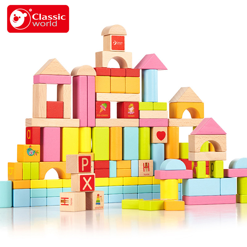 Classic World 100psc Beech Color Building Blocks Bottled Children's Toy For Color & Shape Identification Exerciseand mideer 250pcs children colorful beech wooden pattern blocks geometry shape recognition flower blocks classic toy gifts