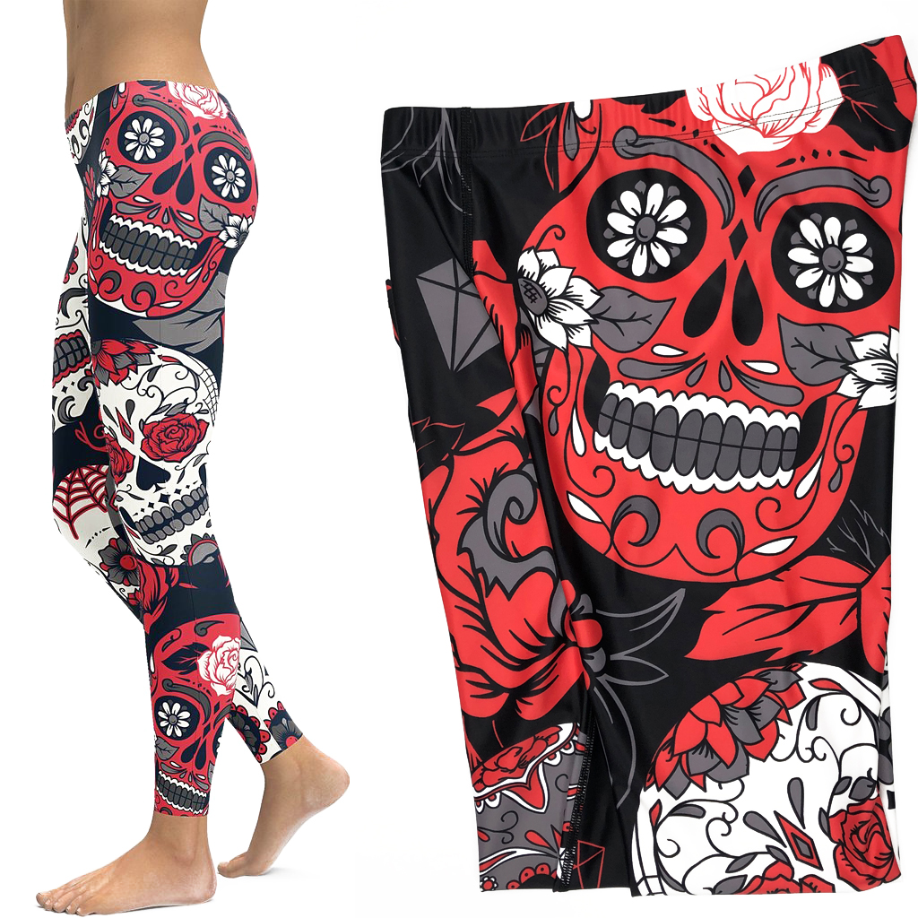 Skull Leggings Yoga Pants Women Sports Pants Fitness Running Sexy Push Up Gym Wear Elastic Slim Workout Leggings 3