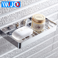 IWJOO Bathroom Square Lengthened Soap Rock Wall Mount Toilet Stainless Steel Dish Bath Products Storage Rack